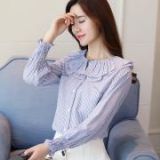 实拍8885#2017秋季长袖韩版压褶荷叶边甜美百搭上衣女潮