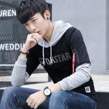 2017秋季长袖连帽套头青少年韩版卫衣潮百搭拉链织带袋潮男2226#