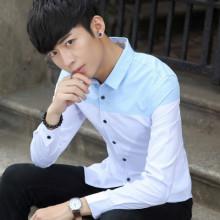 秋冬衬衫男长袖衬衣青少年学生打底衫男士韩版修身白衬衫潮890
