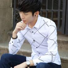 2017新品秋季韩版男装长袖衬衫 条纹格子男士衬衣修身型男装衣886