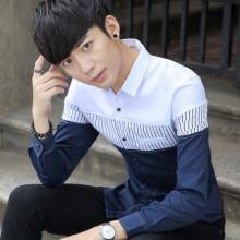 时尚潮流拼接男装长袖衬衫 潮男韩版条纹拼接优质衬衣男长袖潮889