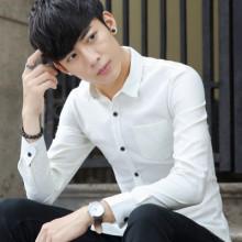 秋季新款男士牛津纺长袖棉纯色衬衫修身衬衣韩版口袋衬衫男潮891