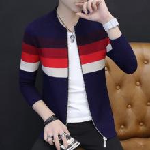 男式毛衣外套长袖圆领开衫秋冬新款男士毛衫拼色韩版毛衣-330