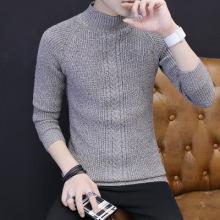 2017新款针织衫线衫男式毛衣秋冬韩版修身半高领毛衣男-326