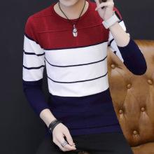 2017青少年秋冬新套头针织衫男韩版修身圆领毛衣条纹上衣-325