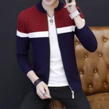 秋冬新男式毛衣长袖开衫外套青少年拼色针织衫休闲上衣-323