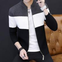 秋冬男式毛衣开衫韩版青少年薄款针织衫潮男毛衣拼色外套-322