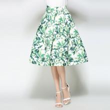 实拍现货802# 2017款欧美印花复古高腰大摆裙公主裙中长款伞裙