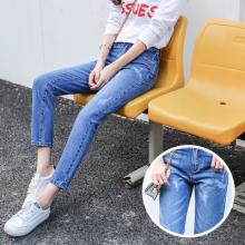 2017新款秋季个性修身磨破蓝色牛仔裤长裤0824