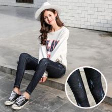 2017秋季新款黑色牛仔裤个性磨破长裤0825