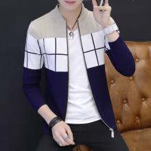 男士针织开衫外套毛衣修身韩版格子帅气上衣-331