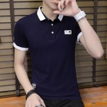 实拍 短袖T恤男式修身翻领纯棉POLO衫2018春夏青少年上衣203