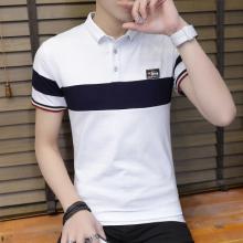 实拍 有领男T恤18年夏新款短袖翻领撞色修身青少年Polo衫202