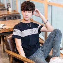 大货实拍2018韩版青少年T恤短袖拼色修身印花英文圆领纯棉T恤383