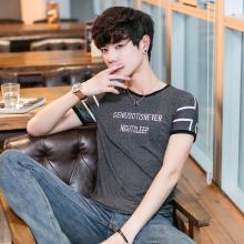 实拍大货2018新款男式春夏款T恤圆领修身韩版青少年印花字母380#