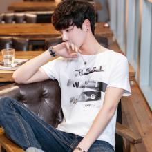 已出货实拍2018新款春夏季男士T恤短袖圆领青少年修身印花字母934