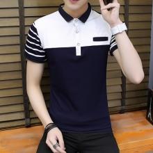 实拍 时尚男T恤撞色条纹翻领Polo衫短袖青少年春夏季棉T恤3388
