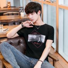 2018夏季新品男士短袖圆领T恤印花韩版修身青少年半袖T恤衫931#