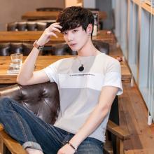 现货 2018夏新款男式T恤短袖圆领韩版小清新时尚拼色棉T恤1016