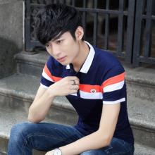 实拍 男T恤短袖翻领拼色修身2018夏季青少年韩版有领T恤衫3736