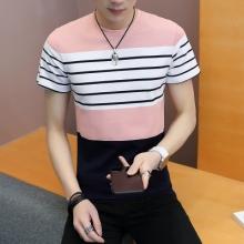 2018夏新款菠萝提花条纹男式T恤短袖圆领修身时尚拼色青少年1023