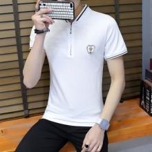 现货 男士T恤短袖罗文小立领菠萝提花棉半拉链韩版青少年上衣1020