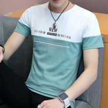 实拍圆领T恤男式短袖修身夏青少年韩版拼色时尚纯棉半袖上衣2246