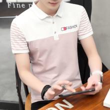 夏季短袖t恤男士翻领polo衫v领衬衫半袖韩版潮流男装有领上衣206