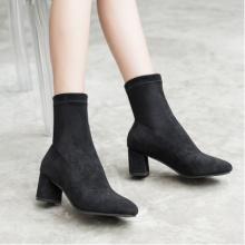 2018秋冬季新款绒面皮靴圆头粗跟休闲短靴女 粗跟弹力布靴子批发