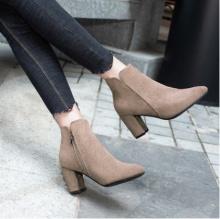 2018新款粗跟女式皮靴 棉鞋女冬季保暖加绒时尚尖头欧美短靴