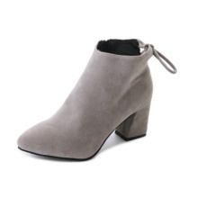 2018秋季新款尖头高跟短靴绒面粗跟女式皮靴子时尚欧美女鞋批发