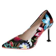 新款尖头高跟鞋细跟中国复古元素花朵图案装饰单鞋时尚女鞋批发
