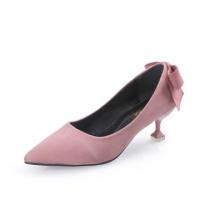 2018秋冬新款尖头单鞋绒面细跟蝴蝶结高跟鞋女粉色猫跟鞋5cm批发
