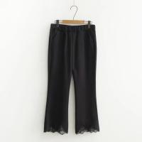 韩版蕾丝裤脚罗马布九分裤