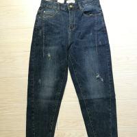 蓝色微跨长裤