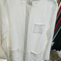 棉麻拼条衬衫