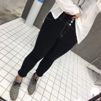 韩版修身明线小脚裤
