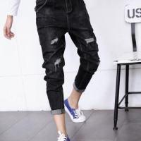 弹力休闲跨裤黑色学生裤