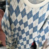 格子长款毛衣
