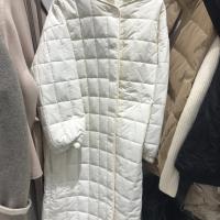 方格长款棉服