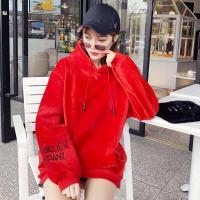 网红同款袖子刺绣连帽金丝绒卫衣