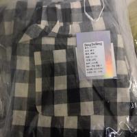 棉麻七分格子裤