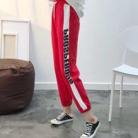 侧拼条女裤