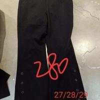 黑色金属圈圈微喇裤