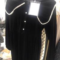 珍珠领长款连衣裙