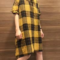 麻料连衣裙