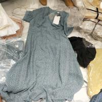 蓝色波点连衣裙