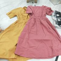 两色露背连衣裙