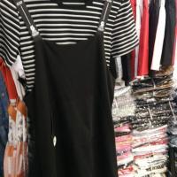 条纹两件套裙