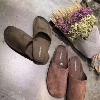 牛皮磨砂拖鞋